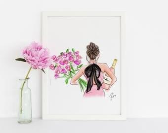 Roses or Rosé (Fashion Illustration Print)