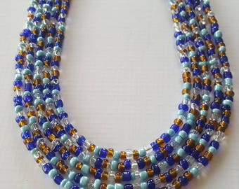 Shades of blue/brown seed bead necklace ready to ship