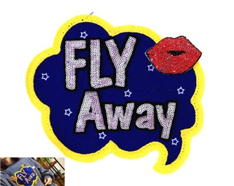 fly away n lip  sequins patch applique clothing decoration patch vintage embroidered patch