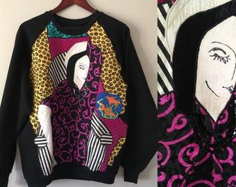 Medium Large Patchwork  Ladies Vibrant Colorful Pop Art Printed Rayon 90s Swag Nineties