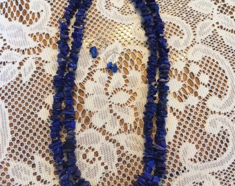 Lapis Beaded Double Strand Necklace with Matching Sterling Silver Hoop Earrings