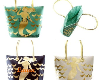 Personalized Tote Bags for your Bridesmaids Metallic Gold Monogrammed Tote Bag  Large Tote Bag  Beach Bag  Weekender