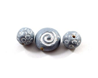 Light Blue Clay Beads, Swirl Beads, Dotted Beads, Blue Beads, Clay Beads, 3 Beads, 2 Sizes Beads