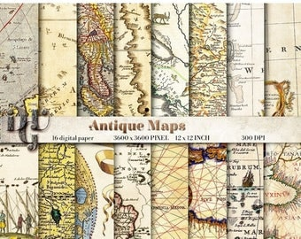 "40% Ancient maps digital paper: ""ANTIQUE MAPS"". 16 Vintage Maps, World Map Scrapbook Paper Pack, old maps scrapbook, world maps background #"