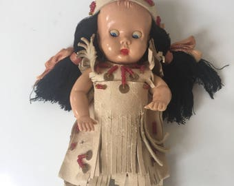 Vintage Native American Baby Doll Leather Beaded Dress