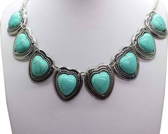 Beauty Antiquo Silver Hearts Shaped Turquoise Necklace , Heart Pendant Necklace