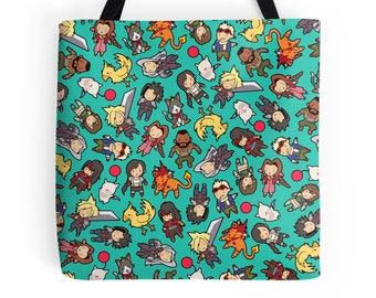 Final Fantasy VII Pattern ~ FFVII ~ Polyester Premium Tote Bag