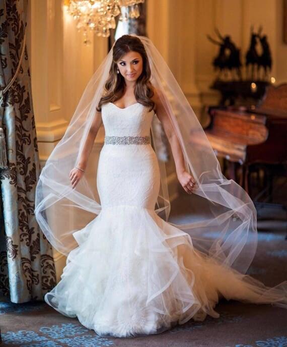 Wedding Veil, Soft Tulle Veil, Bridal Veil, Single Tier Veil, Short Veil, Simple Veil, Veil, Fingertip Veil, Modern Veil- JUNE BRIDE