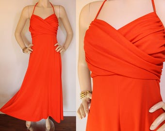 70s DRESS / Vintage Maxi Dress / Disco Dress / 70s Disco / Studio 54 / Orange Dress