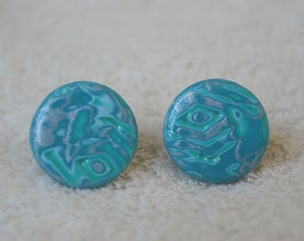 Studs/posts / studs, polymer clay / fimo, hidden magic blue-green silver