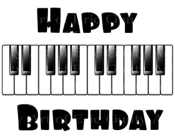 Happy Birthday Music Piano Band - Edible Cake and Cupcake Topper For Birthday's and Parties! - D22841