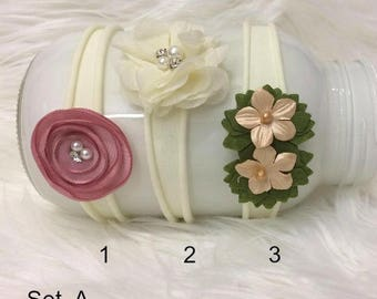 Newborn Nylon / Jersey Headbands, 9 different Colors, Styles, Newborn PHoto PRop, Baby Photo Prop Ivory, Brown, Pink,  Flower Headband, RTS,