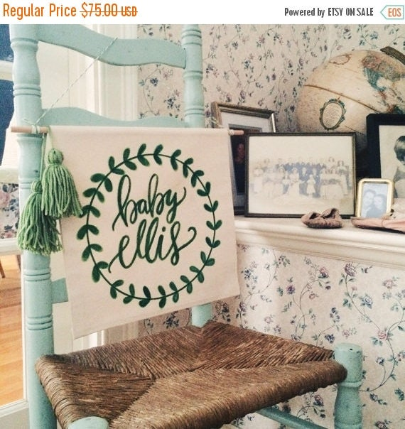 ON SALE Nursery decor, personalized wall hanging, baby name banner, pregnancy announcement photo shoot prop