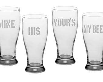 Set of 4 customisable Beer Glasses