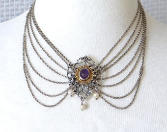 Antique Austo-Hungarian Solid Silver Collier Necklace -  Amethyst, Baroque Pearl, 835 Silver & Gold - Handcrafted Biedermeier Jewelry