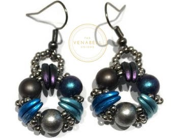 Earrings - silver plated made of glass beads