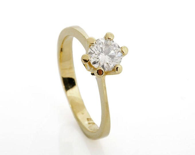 Diamond Engagement Ring 0.70 ct-Solitaire ring-14K Yellow Gold -Women Jewelry-Promise ring-Bridal Jewelry-Anniversary-Wedding&engagement