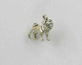 Sterling Silver 3-D Pug Dog Charm