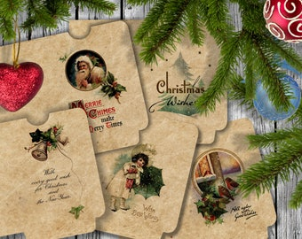 CHRISTMAS Wishes - 20 Printable Mini Envelopes Journal pockets Download Digital Collage Sheet  - Print and Cut