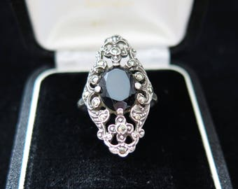 Large Art Deco Ring Statement Ring Sterling Silver With Onyx, Marcasite Size P US 7 3/4