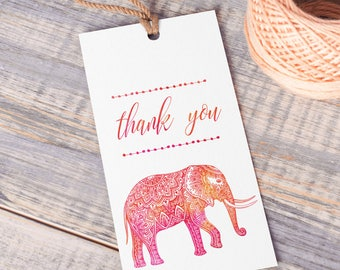 Printable Indian Elephant Tags | Watercolor | Instant Download PDF | Printable Thank You Tags | Favor Tag | Bohemian Elephant