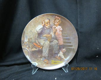 """Bradex Norman Rockwell """"The Cobbler"""" Collector Plate"""