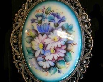 Floral Broach  Enamel Jewelry