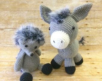 Hedgehog crochet toy, donkey crochet toy, donkey toy, hedgehog stuffed animal, donkey stuffed toy, grey crochet animal toy