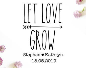 "Arrow Let Love Grow Stamp, custom stamp, save the date stamp, wedding stamp, card stamp, invitation stamp, gift tag stamp, 2""x3"" (cts57)"