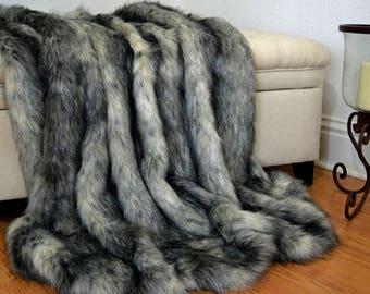 Grey Wolf Faux Fur Blanket Throw, Faux Fur Blanket,  Faux Fox Fur Throw, Fur Bedding, Lap Blanket
