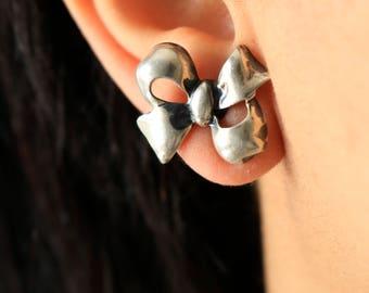 Sterling Bow Screw Back Earrings - Silver Bow Earrings - Bow Ribbon Earrings