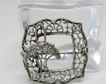 Vintage Jewelry - Sterling Silver Petite Brooch Pin - Art Nouveau - Flower Basket
