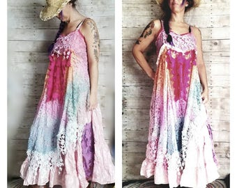 Pink Sunshine Shabby rainbow floral lace layered cowgirl satin slip repurposed country ruffled Boho wedding mori maxi Dress