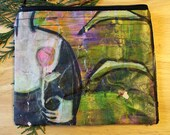 39 A ROSE FOR YOU -- large reclaimed canvas zipper pouch