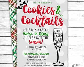 Cookies & Cocktails Holiday Party Invitation