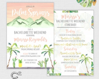 Palm Springs Bachelorette Party Invitation + Itinerary