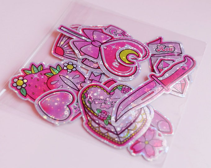 Featured listing image: Anti Valentine's Day Holographc Sticker Pack