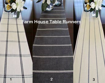 FARMHOUSE TICKINNG STRIPE Buffalo Check Farmhouse Table Runner Chracoal StripeTable Runner Chevron Table Runner Black 48 60 72 84