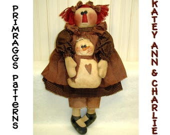 Primitive Doll PATTERN Raggedy holding Snowman - Katey Ann & Charlie- Primraggs -  instant download
