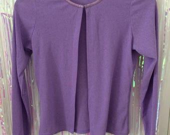 Sheer purple open cardigan top UK 10