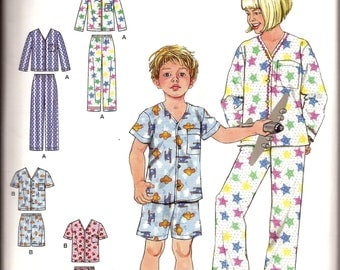 Easy Girl Boy Child Pajama Sewing Pattern / Simplicity 2738 / Size 3 - 12 / UNCUT