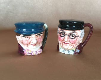Toby Jug, Salt and Pepper, Shakers, Tony Weller, Pickwick, Made in Japan, Cork Stoppers, Vintage Table, Kitsch Accessories, English Kitsch