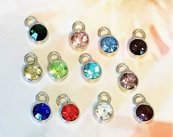 Set of 12 Antique Silver Birthstones Charms