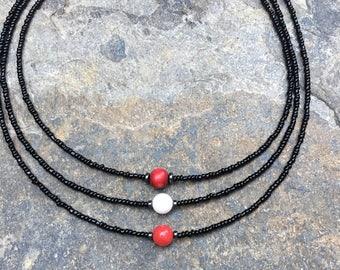 choker necklace seed bead necklace Game Day choker necklace black white red  beaded  necklace gameday choker boho bohemian hippie
