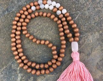 wood bead mala 108 bead mala pink tassel necklace brown necklace Bohemian mala boho long beaded necklace mens mala women's mala rose quartz