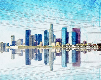 Los Angeles Skyline Fine Art Print, Los Angeles Photography, California Photography, Downtown, Cityscape, Watercolors
