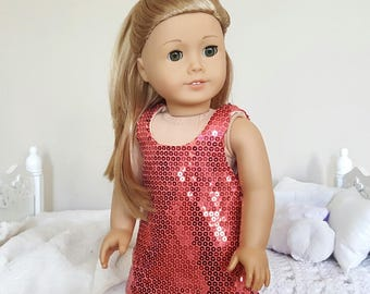 18 inch doll sequin dress | Coral, Salmon, Pink dress
