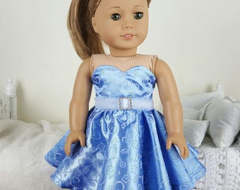 18 inch doll blue skater dress | floral party dress