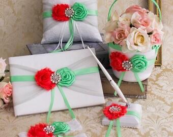 Mint and Coral Ring Bearer Pillow, Flower Girl Basket, Wedding Garter Set, Guest Book and Pen, Coral Mint Wedding Accessories Set
