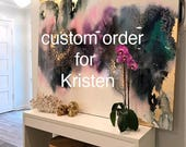 "Custom 36"" x 60"" Art Large Canvas Painting Gray, Purple, Pink Green, Blue Gold Ikat Ombre Glitter with Glass and Resin Coat real gold leaf"
